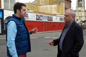 Sebastian Field & Jeremy Hilton discuss the regeneration of the former Kwik Save site, which is in the background