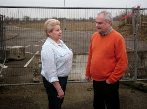 Anna Mozol and Jeremy Hilton at Javelin Park - The proposed site of the Tory  waste incinerator