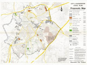 Map of proposals from 1983 Gloucester local plan