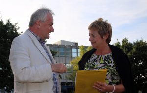 Jeremy Hilton & Linda Castle discuss future education needs at former Bishop's College site