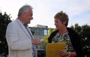 Jeremy Hilton & Linda Castle discuss future education needs at former Bishop's College site